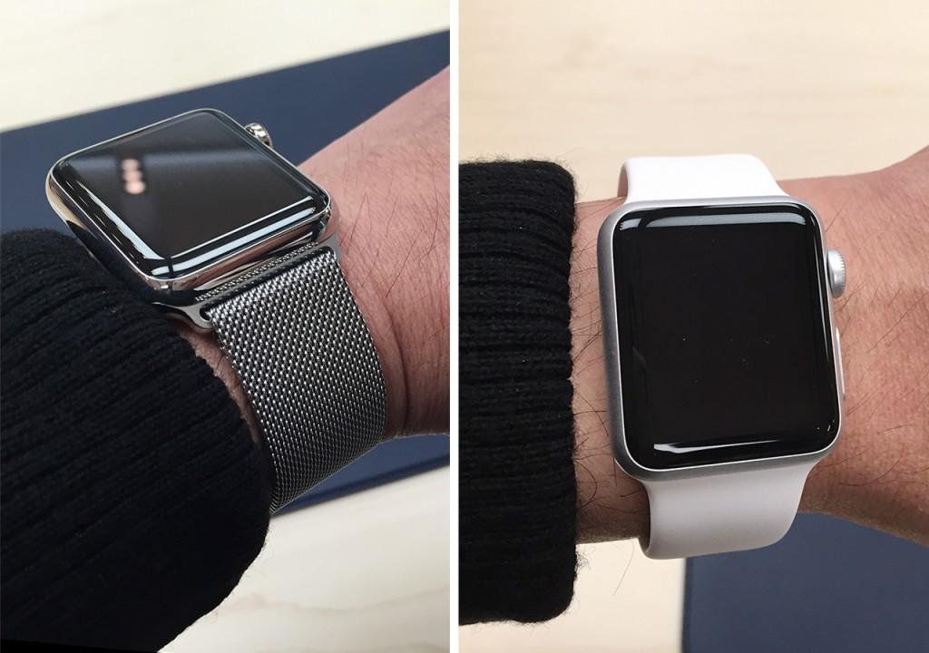Apple Watch/42mmステンレススチールケースとミラネーゼループ(左) Apple Watch SPORT/38mmシルバーアルミニウムケースとホワイトスポーツバンド(右)