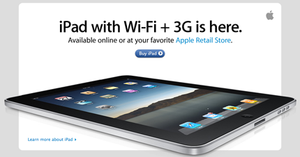 iPad with Wi-Fi +3G is here.