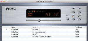 TEAC HR Audio Playerの再生画面